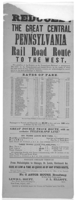 Reduced. The great central Pennsylvania rail road route to the west ... Rates of fare ... New-York. Booth & Norton, Steam Job printers, 28 Frankfort street. August, 1857.