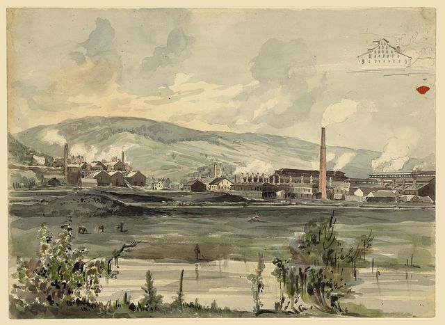 [River view with factory]