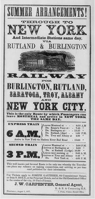 Summer arrangement! Through to New York... via Rutland & Burlington Railway...