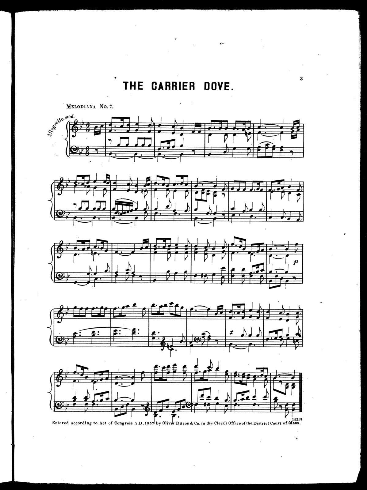 The  carrier dove -- Araby's daughter -- Ricci's waltz