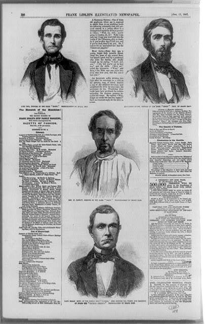 [Three portraits of men rescued from the Central America, by the bark Mary: John Tice, Alexander Grant and George W. Dawson; and portrait of Capt. Hiram Burt, of the Boston brig Marine, who rescued the women and children on board the Central America]