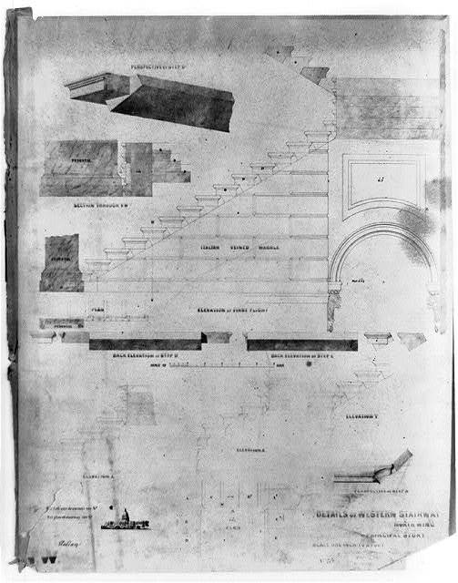 [United States Capitol (Washington, D.C.). North wing. Principal story. Western stairway. Elevations, perspectives and sections] / M.C. Meigs, Capt. of engineers ; Tho. U. Walter, Archt. ex. U.S.C.