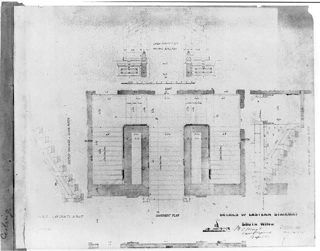 [United States Capitol (Washington, D.C.). South wing. Basement. Eastern stairway. Plan and sections] / M.C. Meigs, Capt. of engineers, 9 April 1857 ; Tho. U. Walter, Archt. ex. U.S.C.