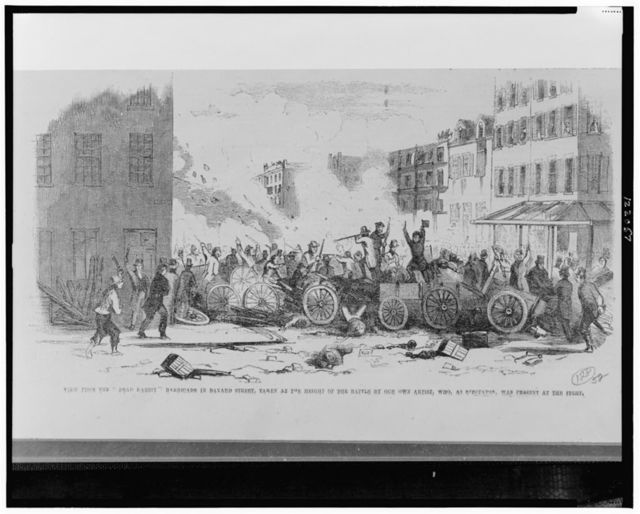 """View from the """"Dead Rabbit"""" barricade in Bayard Street, taken at the height of the battle by our own artist, who, as spectator, was present at the fight"""