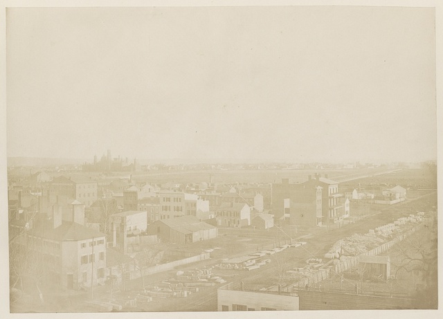 [Washington, D.C., view with Smithsonian in the distance]