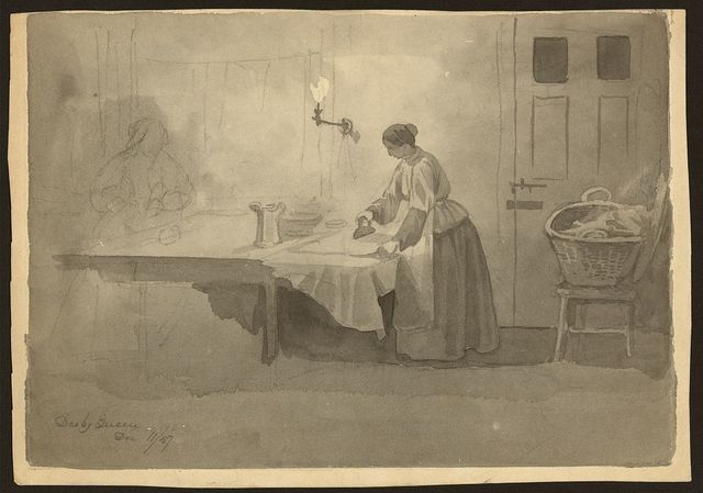 [Woman ironing at table] / des. by Queen, Dec. 11/57.