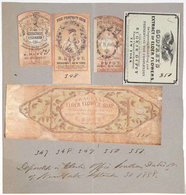 [5 labels from soap and perfume pasted on sheet of paper with copyright entry, Deposited in Clerk's office, Southern District of New York, September 30, 1858].