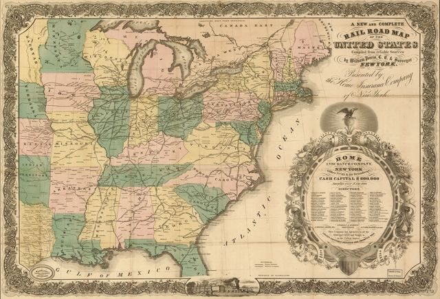 A new and complete rail road map of the United States compiled from reliable sources by William Perris, C.E. & Surveyor, New York; presented by the Home Insurance Company.