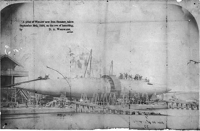 A print of Winan's new Iron Steamer, taken September 29th, 1858, on the eve of launching, by D. A. Woodward, artist