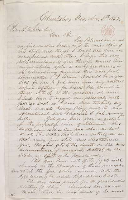Abraham Lincoln papers: Series 1. General Correspondence. 1833-1916: Henry P. H. Bromwell to Abraham Lincoln, Friday, November 05, 1858 (Senate)