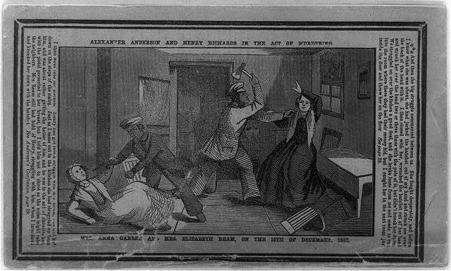 Alexander Anderson and Henry Richards in the act of murdering Mrs. Anna Garber and Mrs. Elizabeth Ream, on the 15th of December, 1857