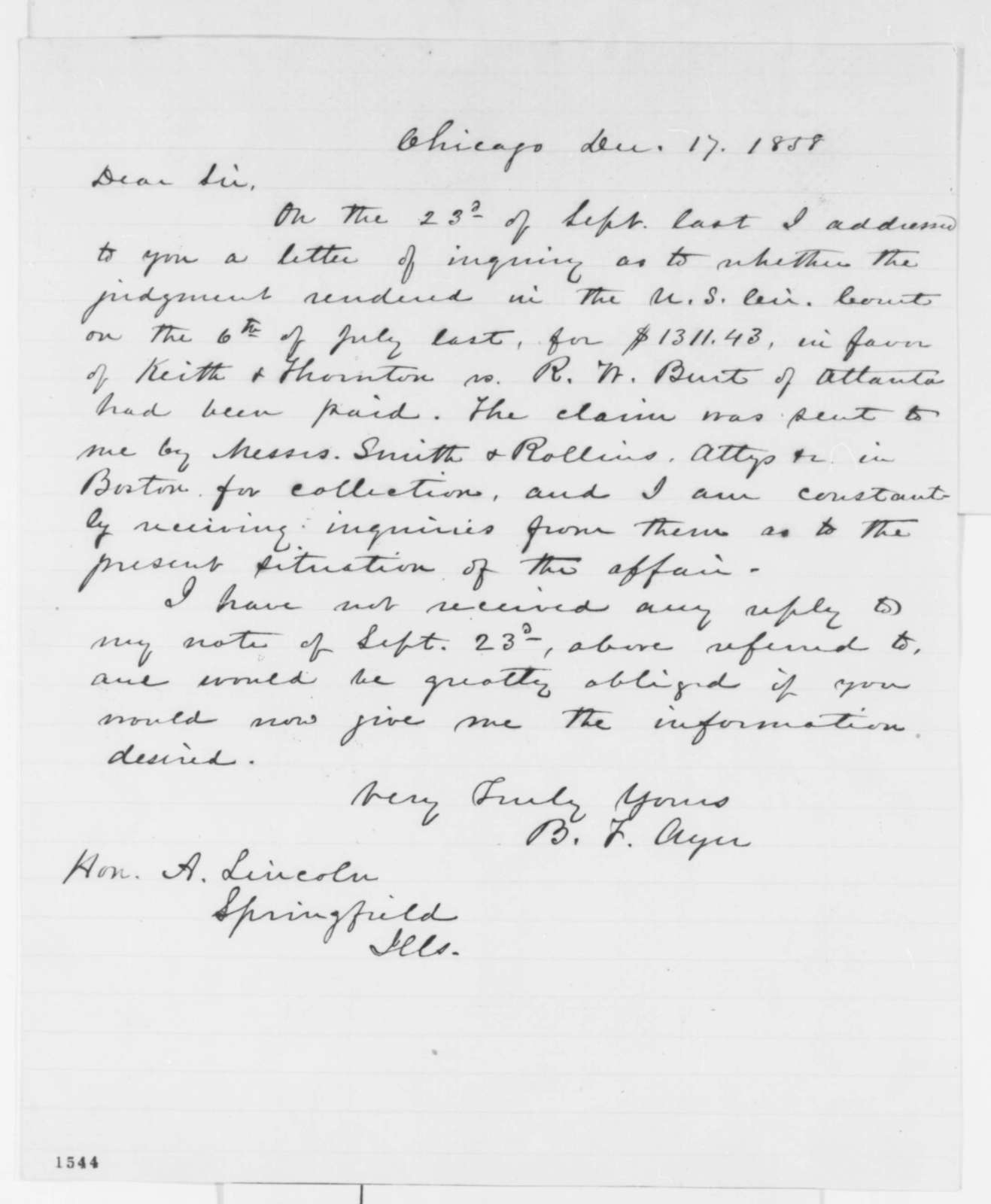 B. F. Ayer to Abraham Lincoln, Friday, December 17, 1858  (Legal matters)