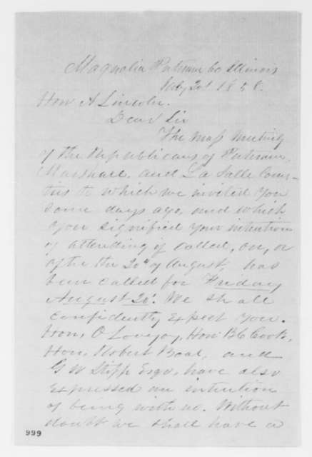 Benjamin C. Lundy to Abraham Lincoln, Tuesday, July 20, 1858  (Invitation)