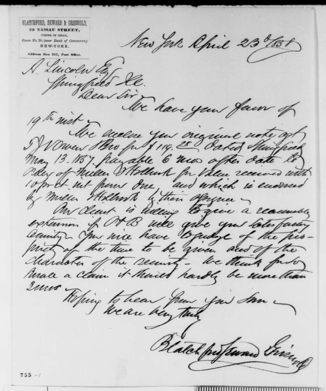 Blatchford, Seward & Griswold to Abraham Lincoln, Friday, April 23, 1858  (Legal)