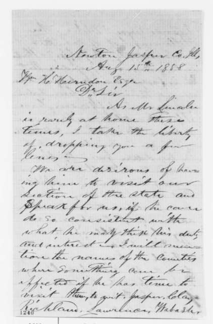 C. D. Hay to William H. Herndon, Sunday, August 15, 1858  (Invitation)