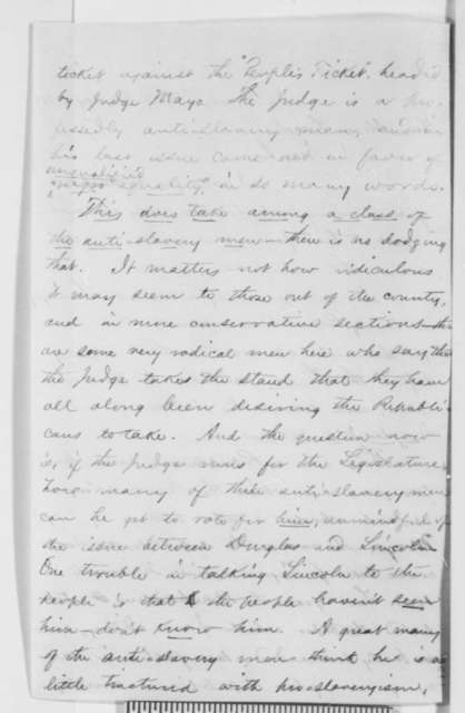 C. W. Waite to Abraham Lincoln, Wednesday, August 04, 1858  (Senate)
