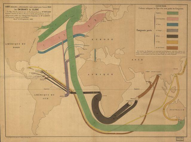 Carte figurative et approximative représentant pour l'année 1858 les émigrants du globe, les pays dóu ils partent et ceux oú ils arrivent /
