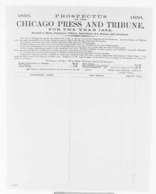 Chicago Press & Tribune to Abraham Lincoln, Wednesday