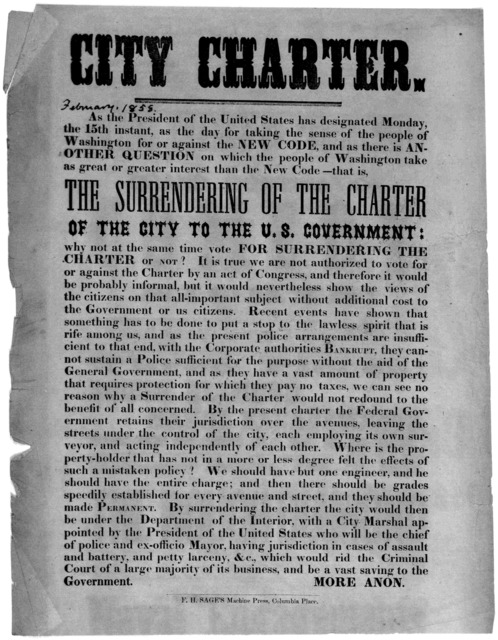 City charter. As the president of the United States has designed Monday, the 15th instant, as the day for taking the sense of the people of Washington for or against the new code, and as there is another question on which the people of Washingto