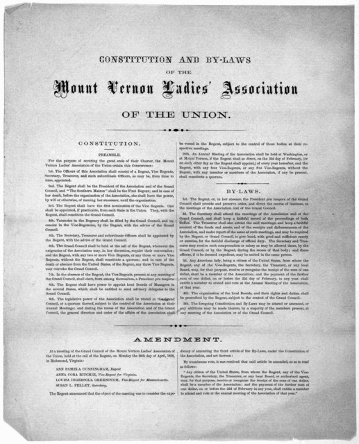 Constitution and by-laws of the Mount Vernon Ladies' Association of the Union ... [1858].