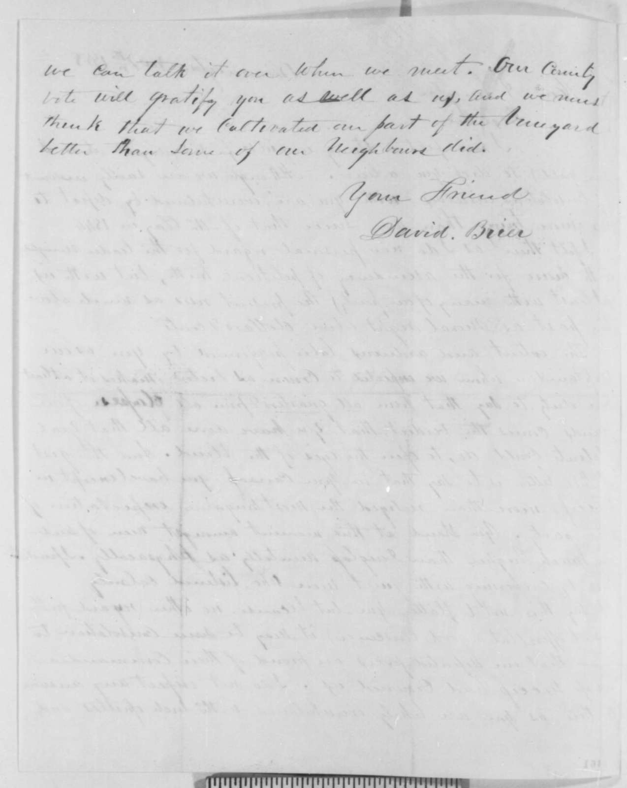 David Brier to Abraham Lincoln, Sunday, November 07, 1858  (Senate)