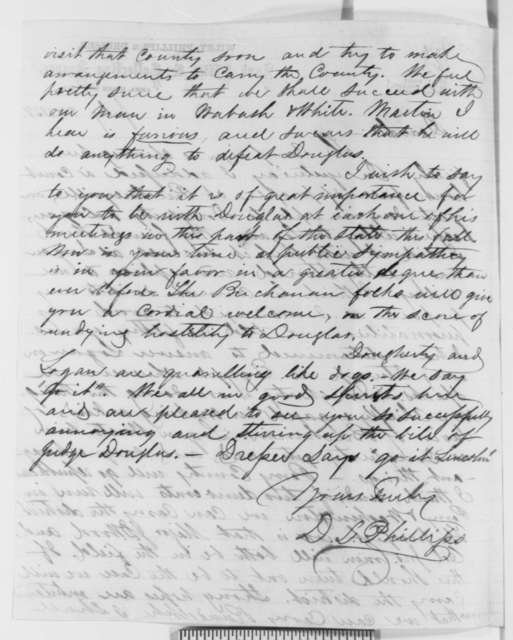 David L. Phillips to Abraham Lincoln, Saturday, July 24, 1858  (Senate)