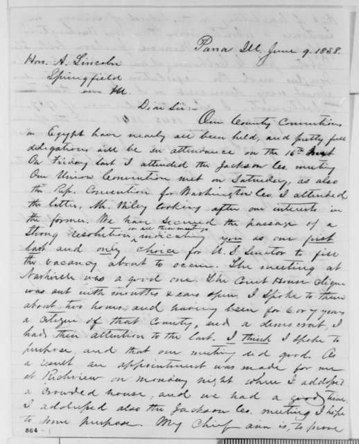 David L. Phillips to Abraham Lincoln, Wednesday, June 09, 1858  (Senate)