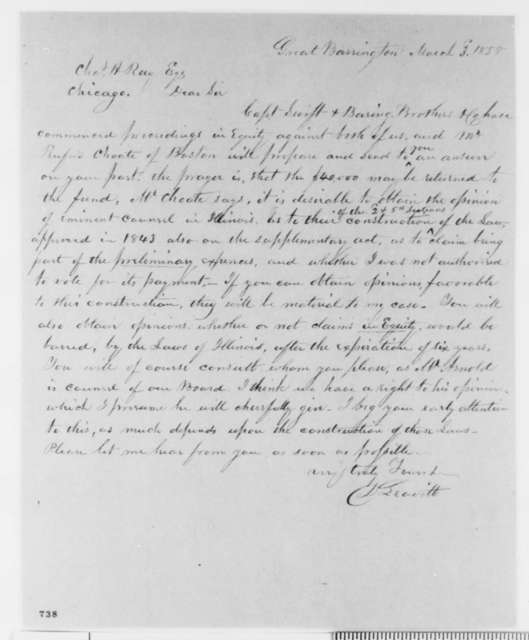 David Leavitt to Charles H. Ray, Wednesday, March 03, 1858  (Legal)