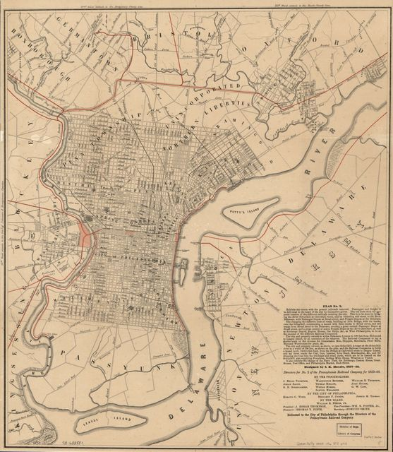 Dedicated to the city of Philadelphia through the directors of the Pennsylvania Railroad Company; plan no. 2. exhibits the streets with the present railroads removed; the red lines show the proposed location of the different railroads entering the city ... 1857-58.
