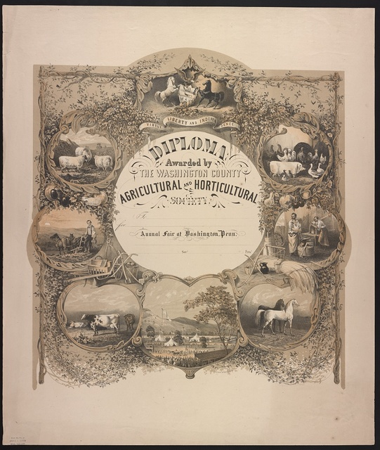 Diploma awarded by the Washington County Agricultural and Horticultural Society / James Queen del. ; P.S. Duval & Son's Lith. Phila.