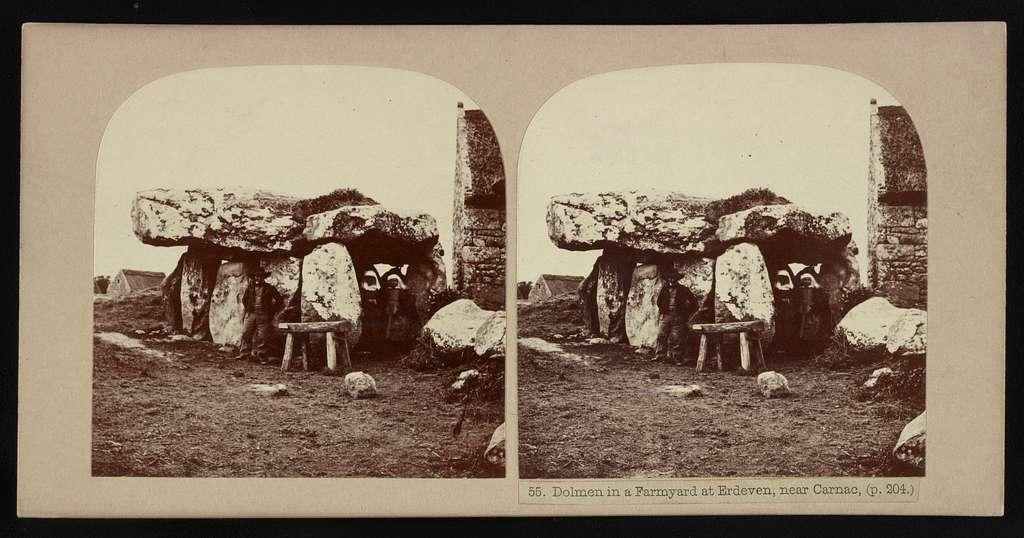 Dolmen in a farmyard at Erdeven, near Carnac, (p. 204.)