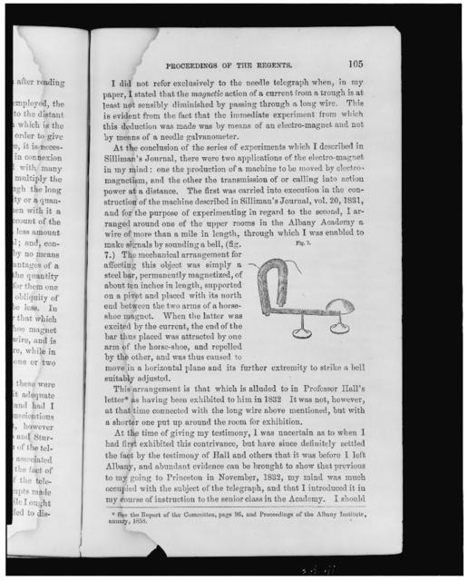 [Electromagnetism described and illustrated (with horseshoe magnet, rod, and bell) on a page from the Annual report by the first secretary of the Smithsonian Institution]