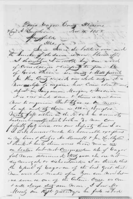 George W. Rives to Abraham Lincoln, Monday, November 15, 1858  (Senate)