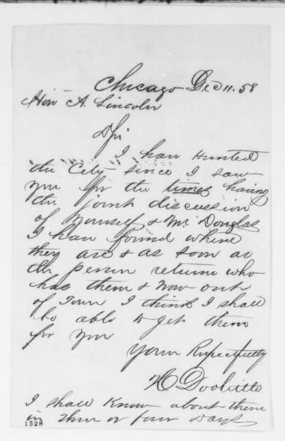 H. Doolittle to Abraham Lincoln, Saturday, December 11, 1858  (Debates)