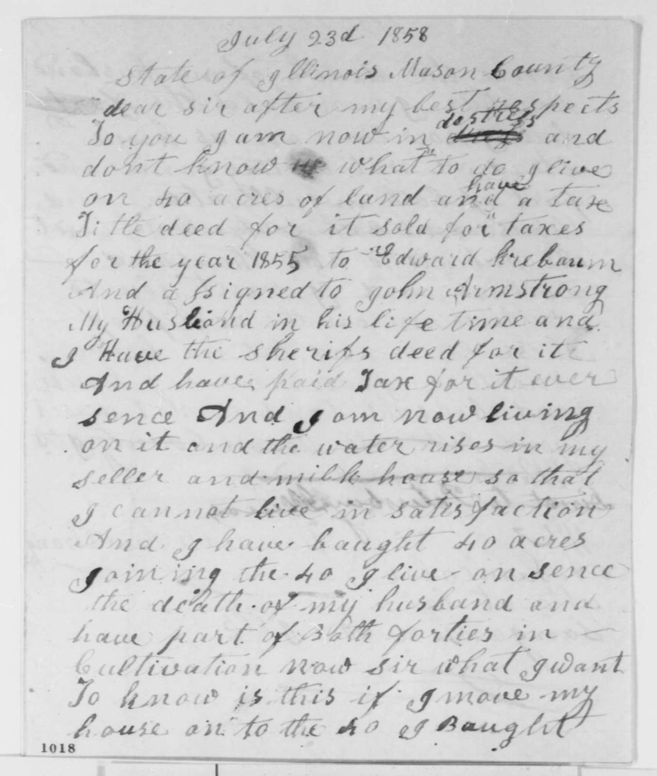 Hannah Armstrong to Abraham Lincoln, Friday, July 23, 1858  (Legal)