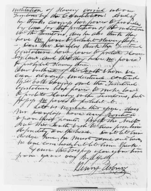 Henry Asbury to Abraham Lincoln, Wednesday, July 28, 1858  (Senate)