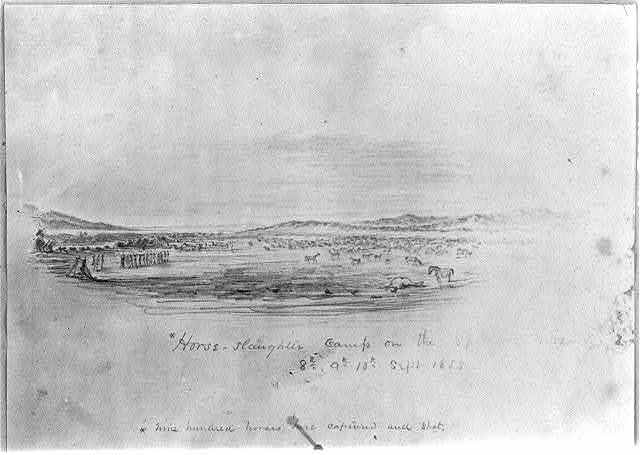 Horse-slaughter camp on the Spokane River, 8th, 9th, 10th Sept. 1858; nine hundred horses here captured and shot.