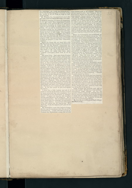 Illinois political campaign of 1858. Scrapbook assembled by Abraham Lincoln.