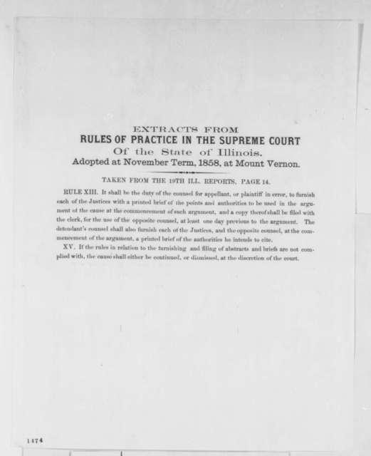 Illinois Supreme Court, November 1858  (Printed extract)