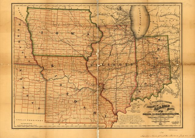 Indiana, Illinois, Missouri & Iowa with parts of adjoining states.