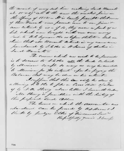 Irwin Camp to Abraham Lincoln, Saturday, February 06, 1858  (Legal)