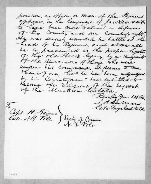 J. A. Quitman to H. Gaines, June 7, 1858