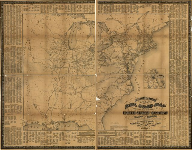 J. Sage & Son's new & reliable rail road map comprising all the railroads of the United States and Canadas with their stations and distances,