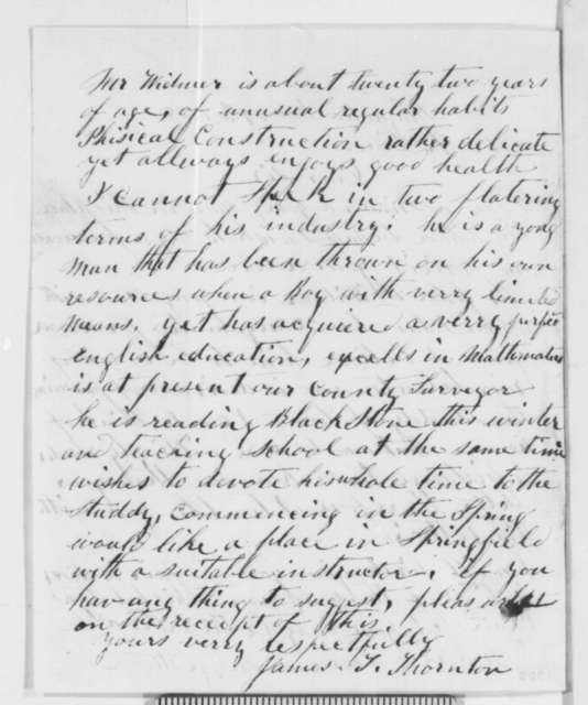James T. Thornton to Abraham Lincoln, Monday, November 29, 1858  (Law study)