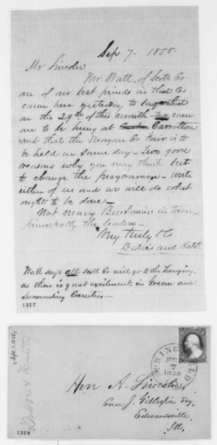 Jesse K. Dubois and Ozias M. Hatch to Abraham Lincoln, Tuesday, September 07, 1858  (Senate)