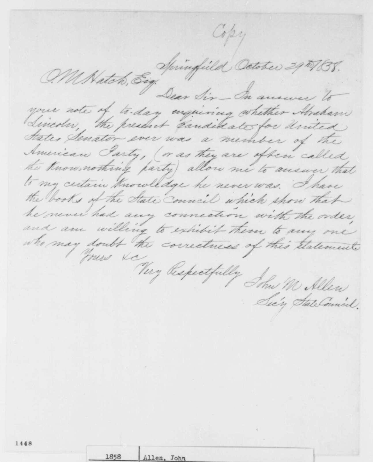 John M. Allen to Ozias M. Hatch, Friday, October 29, 1858  (Senate)