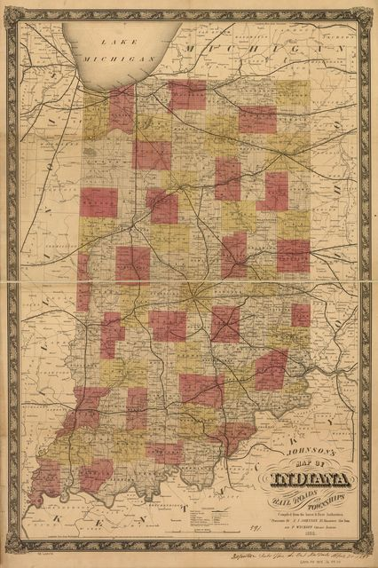Johnson's map of Indiana showing the rail roads and townships compiled from the latest & best authorities.
