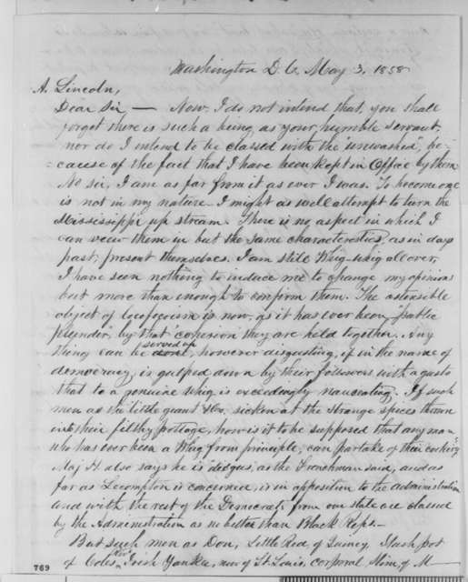 Josiah M. Lucas to Abraham Lincoln, Monday, May 03, 1858  (1858 campaign)