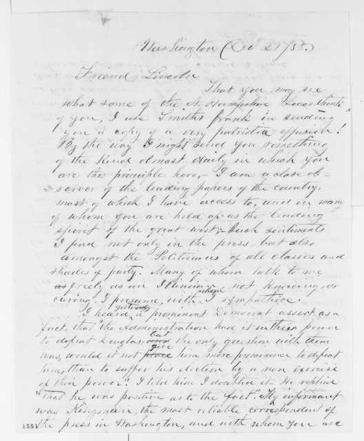 Josiah M. Lucas to Abraham Lincoln, Tuesday, December 21, 1858