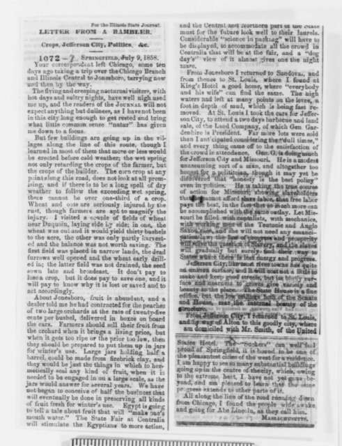 L. G. Chase to Abraham Lincoln, Tuesday, July 27, 1858  (with Clipping; Request for aid)